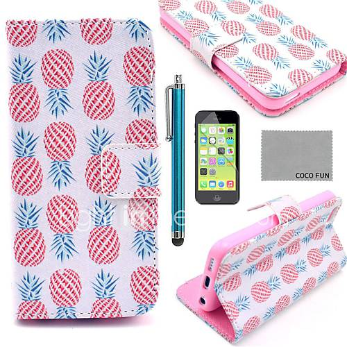 COCO FUN Pink Pineapple Pattern PU Leather Full Body Case with Screen ProtectorStylus and Stand for iPhone 5C