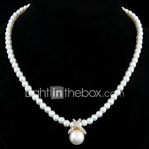 Women's Pendant Necklaces Strands Necklaces Pearl Necklace Pearl Sterling Silver Imitation Pearl Rhinestone Silver Plated Alloy Fashion