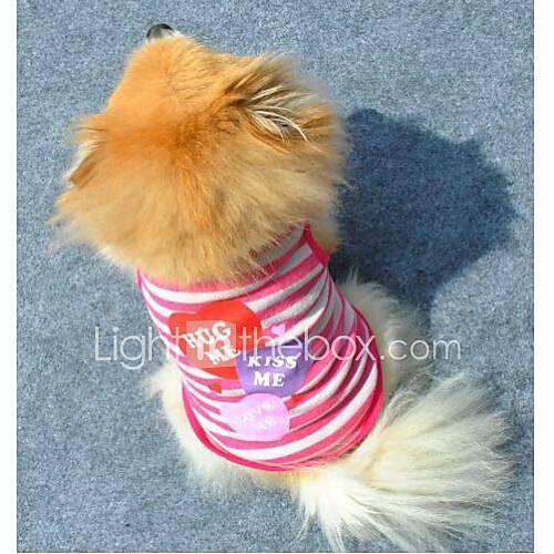 Gatos / Perros Camiseta Morado / Rosado Ropa para Perro Verano Corazones / Rayas Moda Miniinthebox por 4.89€