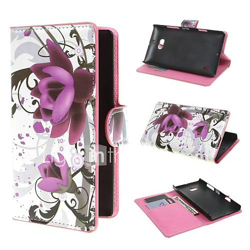 Purple Flower Pattern PU Leather Cover
