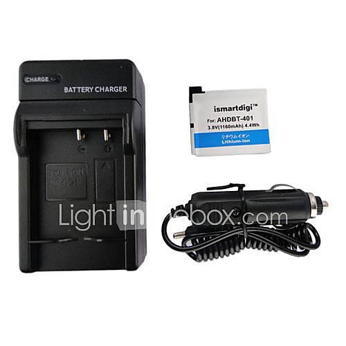 ismartdigi 401 1160mah Kamera-Akku  KFZ-Ladegerät für GoPro 4 Kamera AHDBT 401