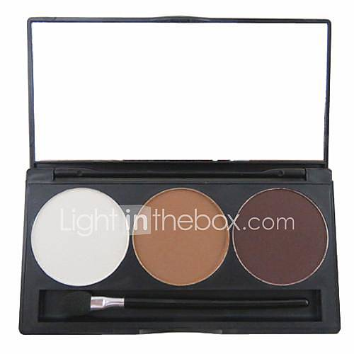3 Color 3in1 Matte Professional Eyebrow Powder/Eye Shadow/Bronzer Makeup Cosmetic Palette with MirrorApplicator Set