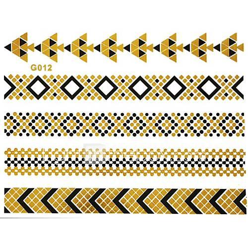 1pc Gold und schwarze lange Armband Tattoo-Aufkleber 15x11.5cm