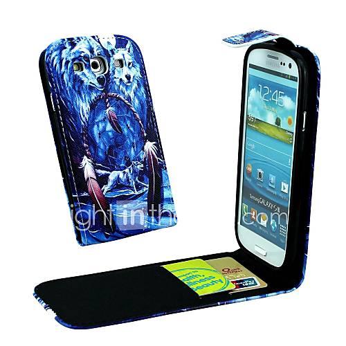 Wolf im Dreamcatcher vertikale Flip PU-Leder Ganzkörper-Fallabdeckung für Samsung S3 i9300
