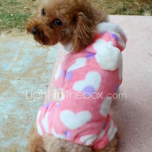 Mode Hundewelpe Kleidung Hoodiestrickjacke Kostüme Fell rosa Herzen für Hund