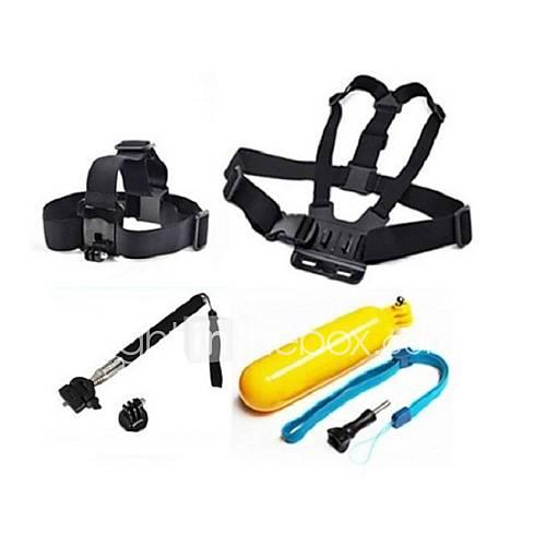 GoPro Zubehör 4 in 1 Brustgurt  Kopfband  schwimmHandGriff  Einbeinstativ für GoPro Hero 1 2 3 3  Kamera