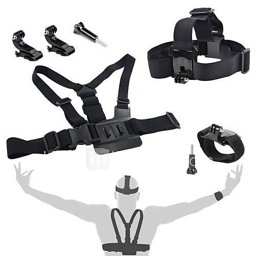 GoPro Zubehör 4 in 1 Kit Brustgurt  J-Haken montieren  Kopfband  Armband für GoPro 1 2 3 3 4 sj4000