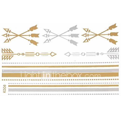 1pc Gold und Silber lange Armband Tattoo-Aufkleber 15x9cm