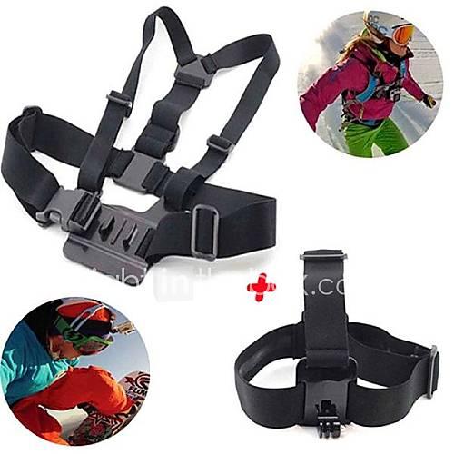 GoPro Zubehör 2 in 1 Kit Brustgurt  Kopfband für GoPro Hero 1 2 3 3 4 sj4000 Sportkameras
