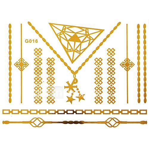 1pc gold langen Armband und Halskette Tattoo-Aufkleber 15x11.5cm