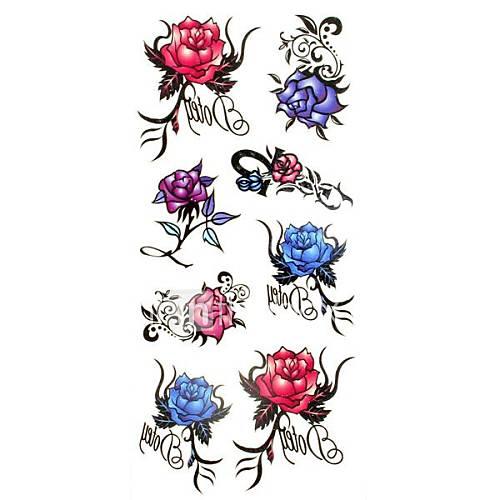 1pc kleine rosafarbene Blume wasserdicht Tattoo Muster temporäre Tattoos Aufkleber (18.5cm  8.5cm)