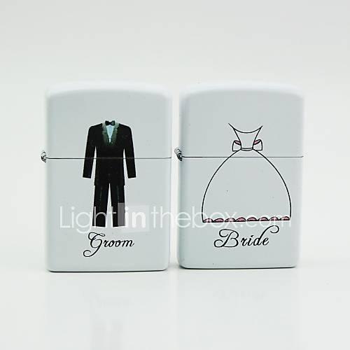 personalisiertem weißem Öl Feuerzeuge - Bräutigam Braut