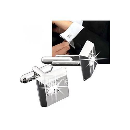 Silber quadratischen weißen Kristall Manschettenmanschettenknöpfe Herren Modell