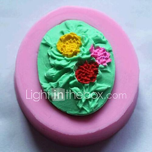 Flowers Oval Shaped Fondant Cake Chocolate Silicone Mold Cupcake Cake Decoration ToolsL5cmW4.5cmH1cm
