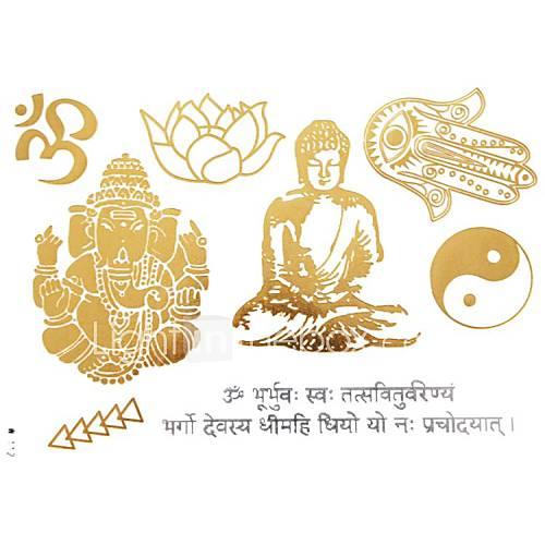 1pc gold metallic Tattoo Sticker 23x15.5cm