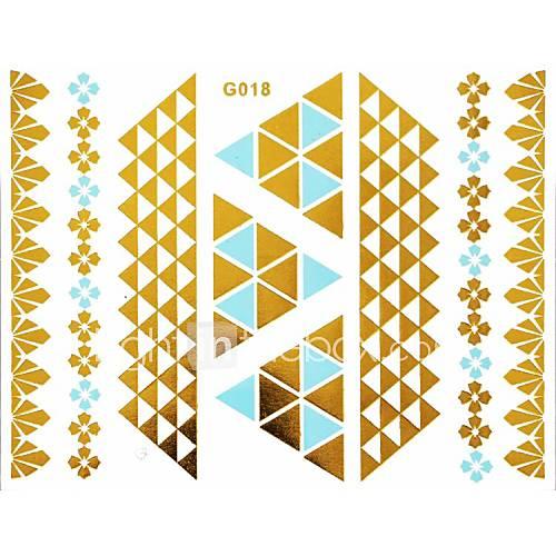 1pc Gold und Blau langen Armband Tattoo-Aufkleber 15x11.5cm