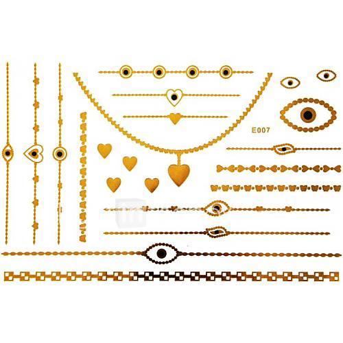 1pc gold langen Armband und Halskette Tattoo-Aufkleber 23x15cm