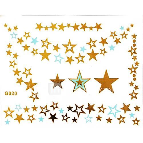 1pc Gold und Blau Halskette Tattoo-Aufkleber 15x11.5cm