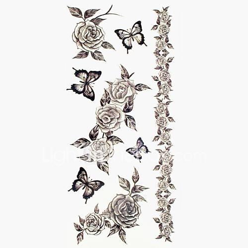 1pc Blumen Winter Rose Armband wasserdichte Tattoo Muster temporäre Tattoos Aufkleber (18.5cm  8.5cm)