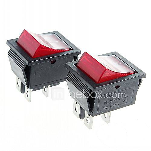 4-Pin Rocker Switch Rocker Switches with Red Light Indicator (2PCS)