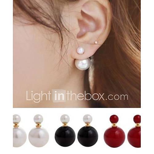 pendientes dobles de perlas (ambos lados pueden usar) Descuento en Miniinthebox