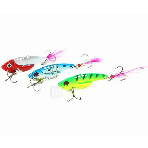 1 pcs Hard Bait Metal Bait Vibration/VIB Fishing Lures Metal Bait Hard Bait Vibration/VIB Green Red Blue Random Colors g/Ounce mm/1-3/4