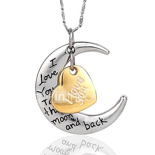 te quiero para el collar de la luna y de regreso para la plata compañeros alto quanlity (cadena de plata al azar) Descuento en Miniinthebox