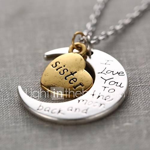corazón hermana la moda y la luna colgante collar pendiente de la aleación de plata (1 unidad) Descuento en Miniinthebox