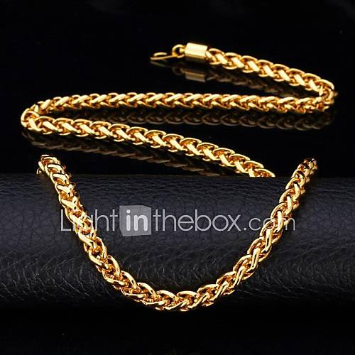 U7 Twisted Rope Chain Necklace 18K Real Gold Plated Long Chunky Necklace for Men Fashion Jewelry