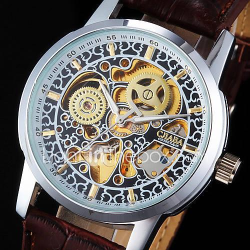 Hombre Reloj de Pulsera El reloj mecánico Cuerda Automática Huecograbado Noctilucente PU Banda Cool Marrón Marca Descuento en Miniinthebox