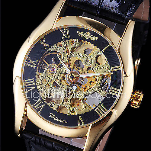 WINNER Men's Hollow Gold Skeleton Mechanical Leather Band Wrist Watch Cool Watch Unique Watch Fashion Watch