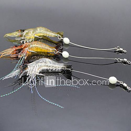 3pcs Craws Fishing Lures 90mm/7g Luminous Shrimp 3 Colors Soft Bait with Hook