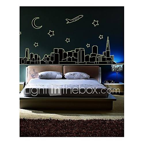 Wall Stickers Wall Decals Style Fluorescence City PVC Wall Stickers