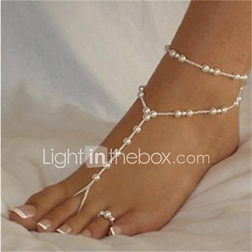 Ball Pearl Anklet / Barefoot Sandals - Women's White / White Sexy / Fashion / Bikini Anklet For Bikini / Beach