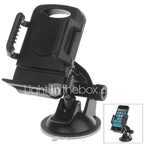 H01 180 Degree Rotation Suction Cup Holder with C66 4~5.4 Inch Back Clip Bracket for iPhone4 5 5s (Black)