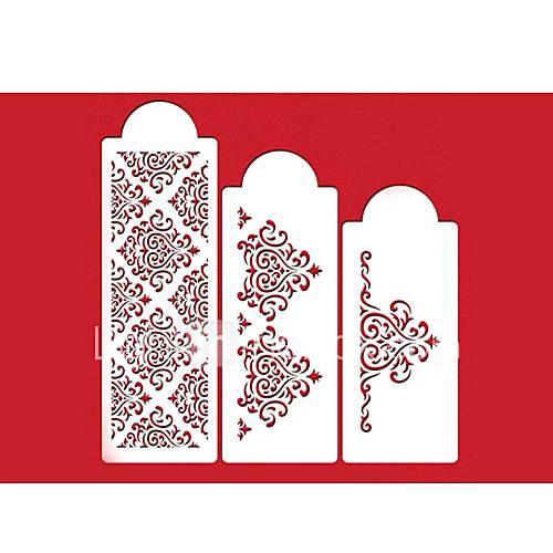 FOUR-C Flower Stencil for Cake Decorating Side Decor Color White3 PCS/Set