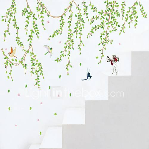 Wall Stickers Wall Decals Style Green Leaves PVC Wall Stickers