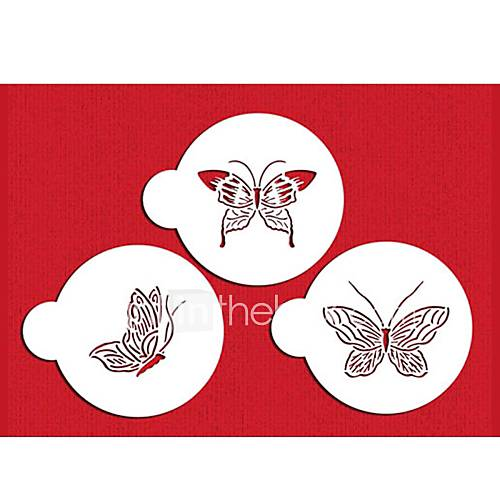 FOUR-C Plastic Stencil Set Top Decorating for Cup Cake Color White3PCS/Set ST-569