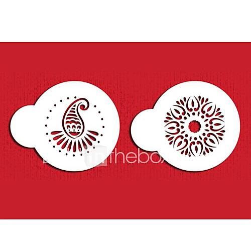 FOUR-C Cup Cake Stencils Cookie And Coffee Stencils Set  Cupcake Decoration Template Molds