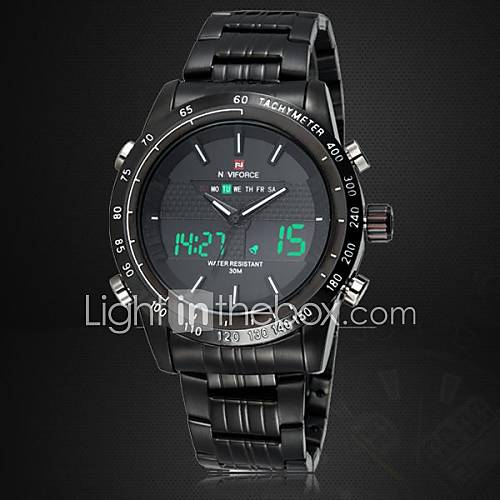 NAVIFORCE Men's Japanese Quartz Analog-Digital LED/Water Resistant/Full Steel Military Sports Fashion Watch (Assorted Colors) Cool Watch Unique Watch