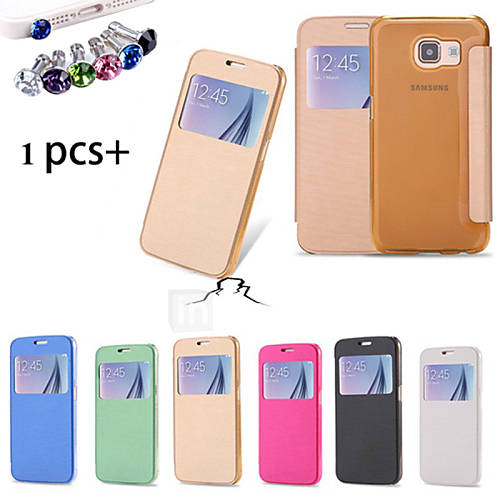 Case For Samsung Galaxy Samsung Galaxy Case with Windows Flip Full Body Cases Solid Color PU Leather for S6