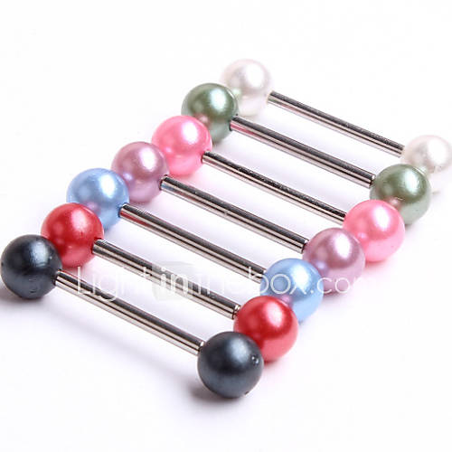 Fashion Stainless Steel Tongue Breast Ring Body Jewelry Piercing(Random Color) Christmas Gifts
