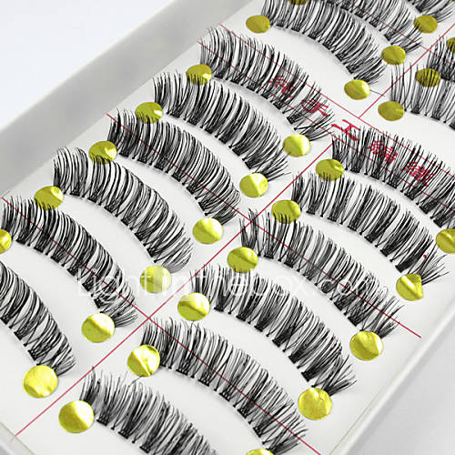 New 10 Pairs Natural Long Black False Eyelashes Handmade Soft Thick Fake EyeLashes Makeup Eyelashes Extensions