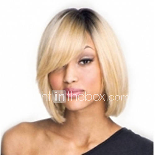 Capless Mix-Color(GrayBlonde) Side Bang Short Straight Synthetic Hair Wigs