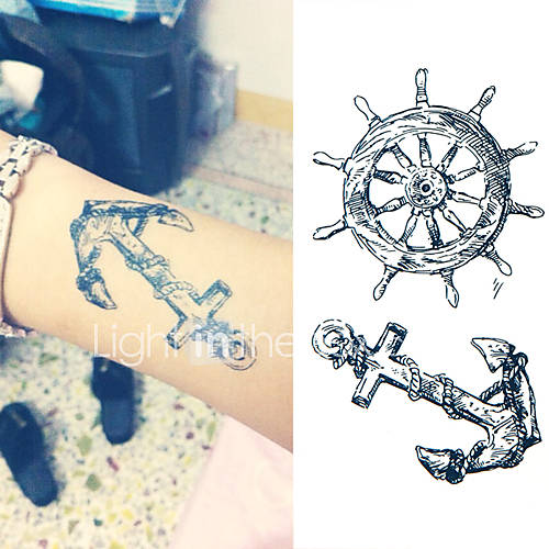 Sailor Anchor Steering Wheel Tattoo Stickers Temporary Tattoos(1 Pc)