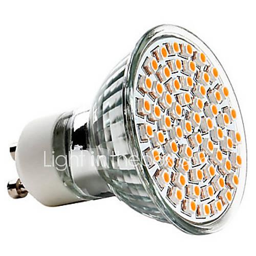 3W 250-350 lm GU10 LED Spotlight MR16 60 leds SMD 3528 Warm White AC 220-240V
