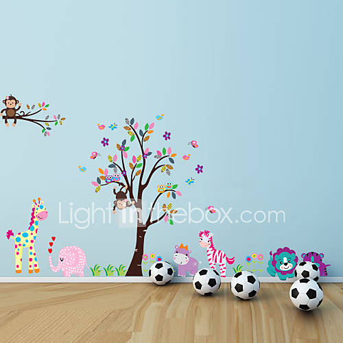 Monkey Elephant Lion Tiger Animal Wall Stickers For Kids Room Zooyoo5099 Sticker Zoo Cartoon Wall Decal