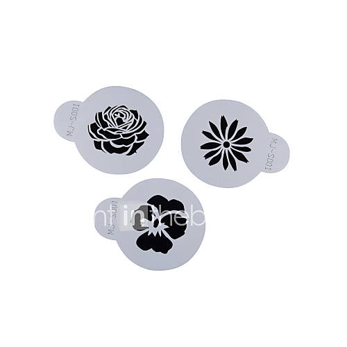 FOUR-C Cup Cake Stencil Candy And Coffee Decorating Tools Color White