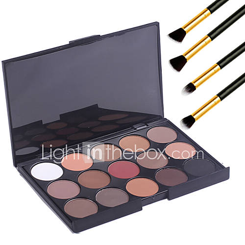 15 Colors  Eyeshadow Palett Professional Warm Makeup Nude Eyeshadow Matte Shimmer Palette Cosmetic4PCS Pencil Makeup Brush