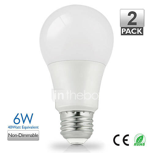 ZDM™ 2PCS Vanlite E27 6W 500lumen LED Lamp A60 for Home Warm WhiteNatural White Choose Energy Saving (AC220-240V)